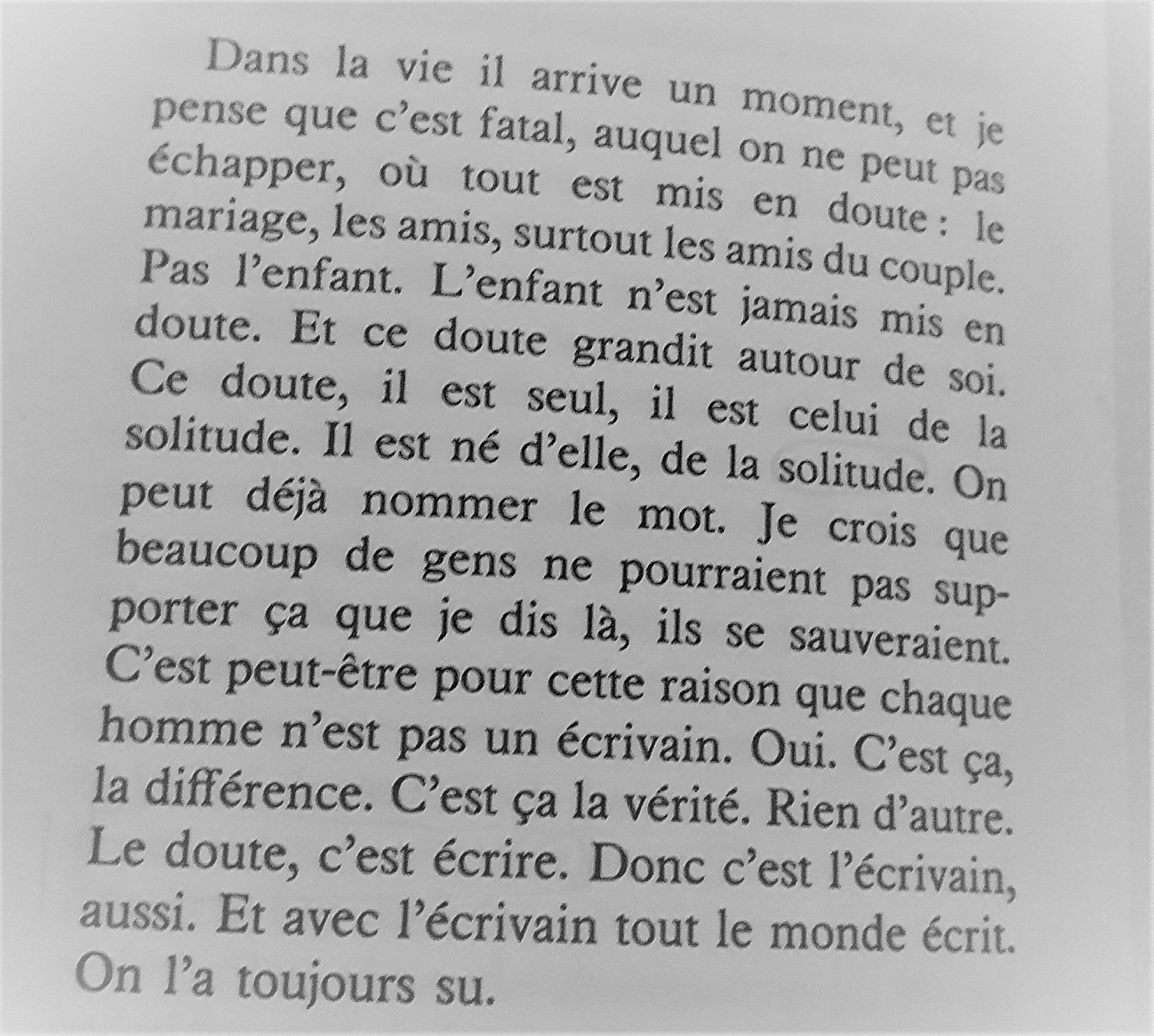 Extrait du livre Ecrire de Marguerite Duras