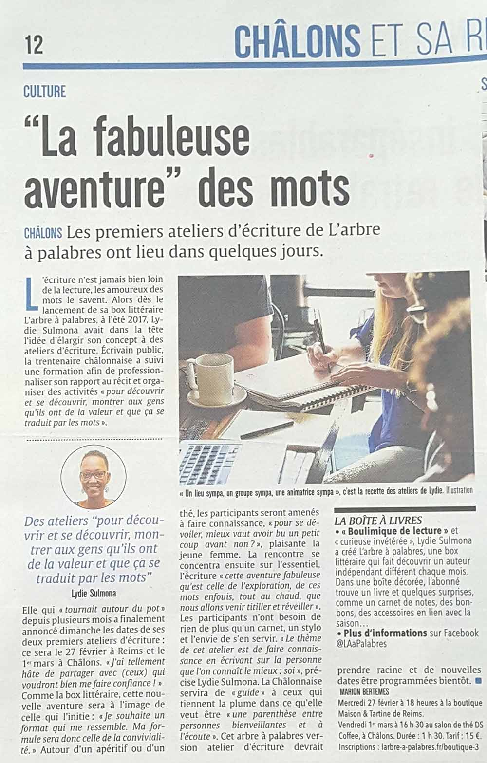 article du journal l'union sur l'arbre à palabres